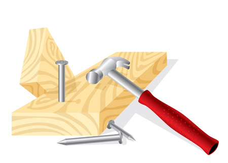 drive nail: image of a working hammer, nails and boards Illustration