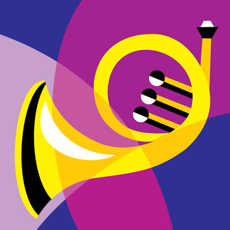french horn: image horn. Stylization of color overlapping forms.