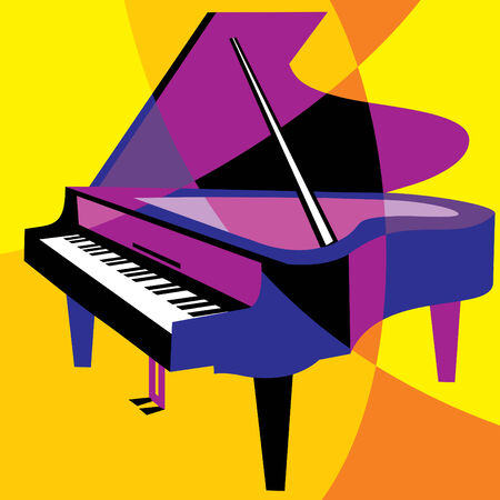 piano: image piano. Stylization of color overlapping forms. Illustration
