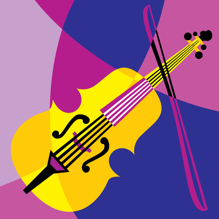 drawing instrument: image violin. Stylization of color overlapping forms.