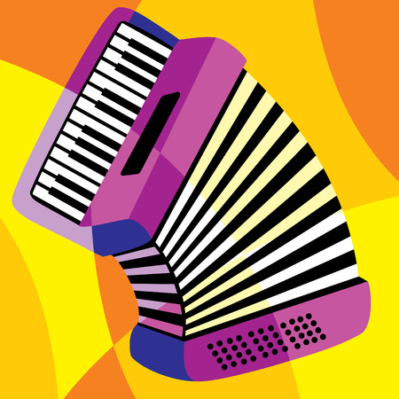 accordion: image harmonica. Stylization of color overlapping forms.