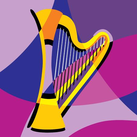 harfe: Bild Harfe. Stilisierung der Farbe �berlappende Formen.