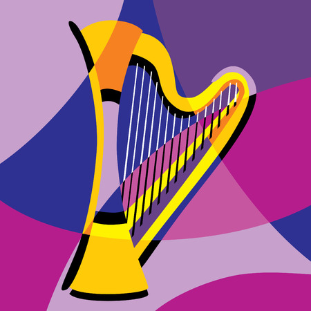 image harp. Stylization of color overlapping forms. Stock Vector - 8803491