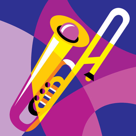 trombone: image trombone. Stylization of color overlapping forms.