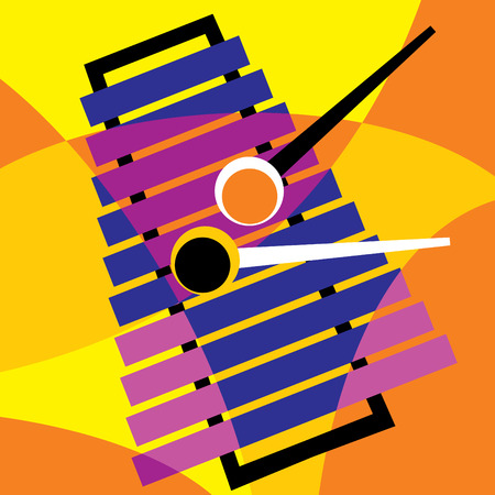 drawing instrument: image xylophone. Stylization of color overlapping forms. Illustration