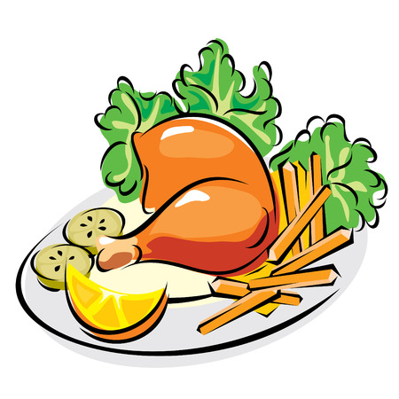 chicken dish: images of roast chicken leg with fried potatoes and vegetables Illustration