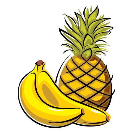 platano maduro: imágenes vectoriales de ananas y plátanos