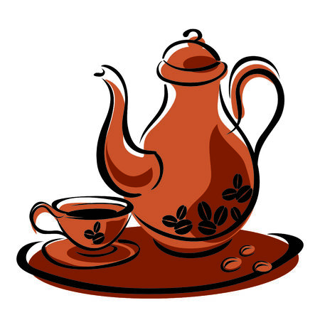 vector image of a coffee pot and cups with hot coffee Illustration