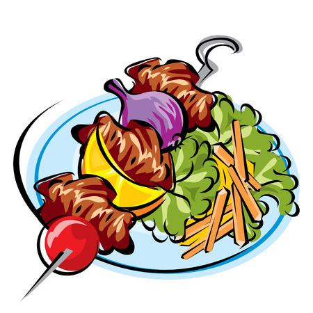 obrazu wektorowego smażonymi mięsa na patyku o fries i sałatka Ilustracja