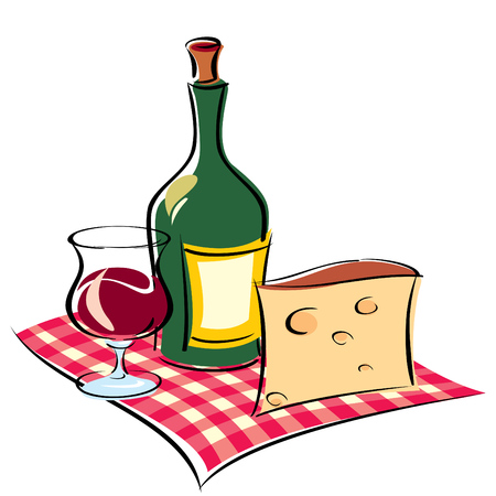 vinous: image of wine and cheese on napkin Illustration
