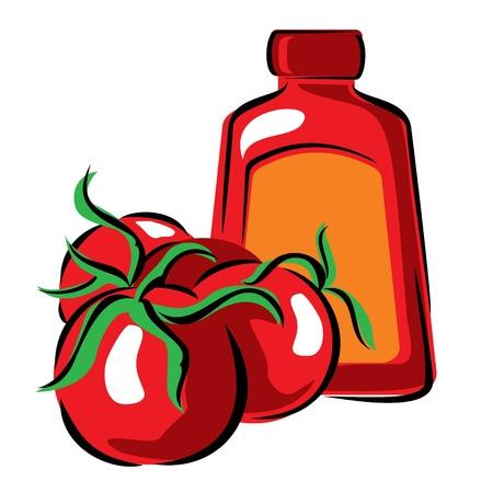 imagen vectorial de tomate y salsa de tomate