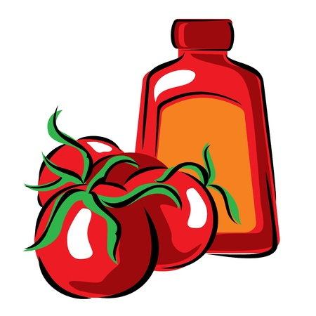 vector image of tomato and ketchup Vector