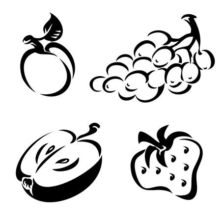 melocoton: conjunto de im�genes vectoriales blanco y negro de fruta
