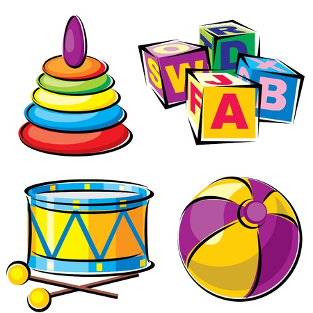 set vector images of childrens toys