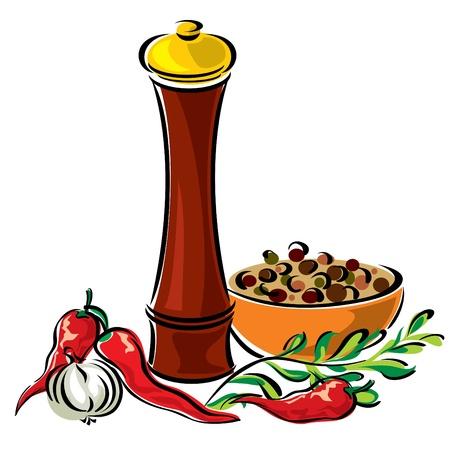 condimentos: Vector im�genes molinos de especias y condimentos