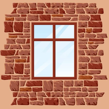 background of stone wall with window Stock Vector - 9211985
