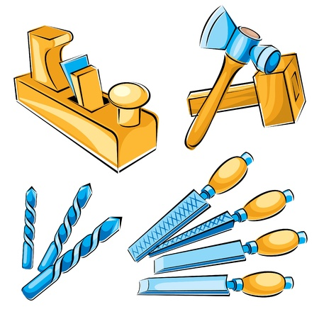 wooden work: set di immagini vettoriali di utensili manuali per un falegname Vettoriali