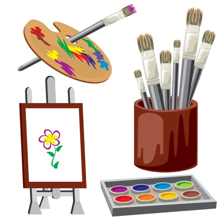 arts and crafts: vector image tools and drawing materials