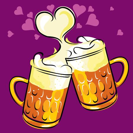 beers: vector image of two beers, radiating love and happiness