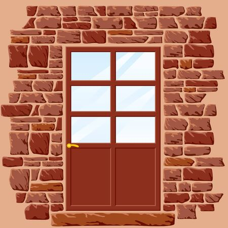 vector background of stone wall with door Stock Vector - 9278568
