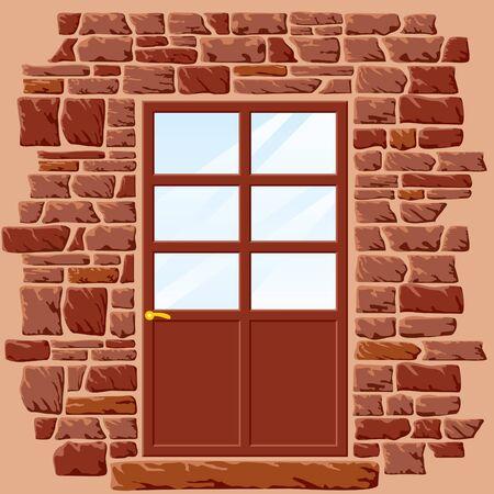 vector background of stone wall with door Stock Vector - 9278568
