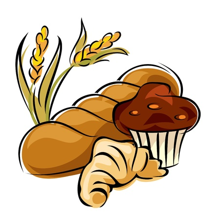 vector image of bread and pastry