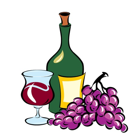 green glass bottle: vector image of Wine and Grapes