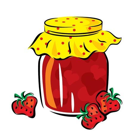 mermelada: imagen vectorial de mermelada de fresa en el frasco de vidrio