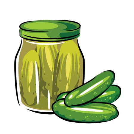 gherkin: vector image of canned pickles in the glass jar