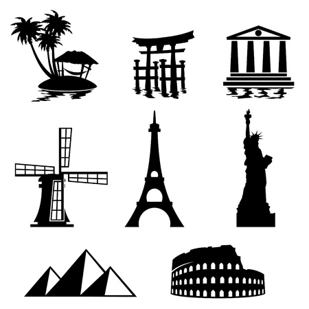 traditional windmill: black and white set icons - travel and landmarks Illustration