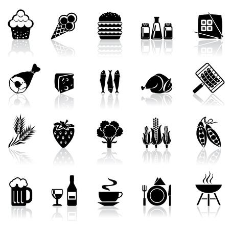 piatto cibo: bianco e nero set di icone con riflessione - prodotti alimentari e bevande