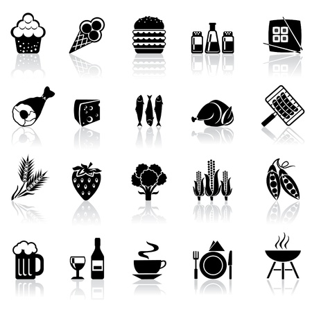 fish icon: black and white set icons with reflection - food and beverages