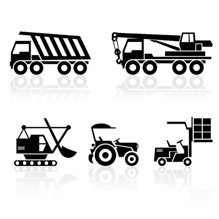 construction crane: black and white set icons - special vehicles with reflection