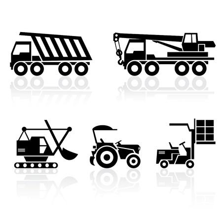 camion grua: blanco y negro establecer iconos - veh�culos especiales con reflexi�n