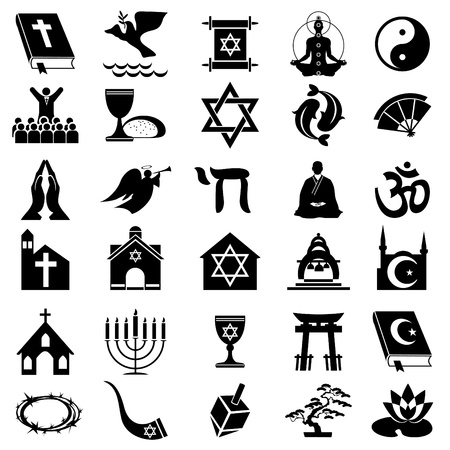judaism: set vector images of religions simbol. Black and white icons Illustration