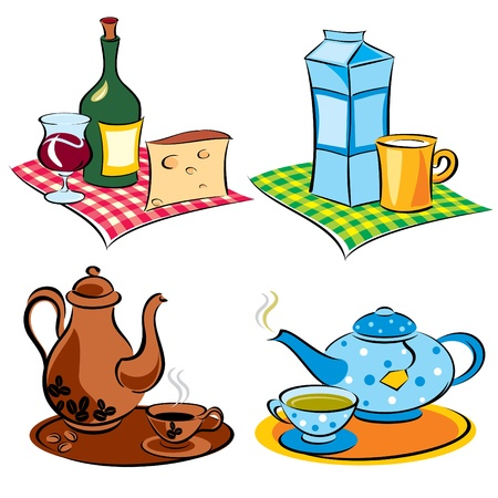 set vector images of drinks and beverages