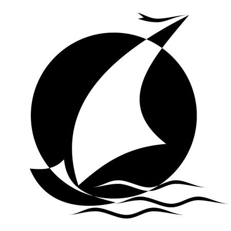 imagen en blanco y negro de velero Ilustración de vector