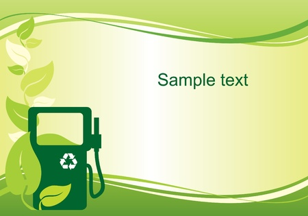 green fuel:  vector background with the image of environmentally friendly fuel Illustration