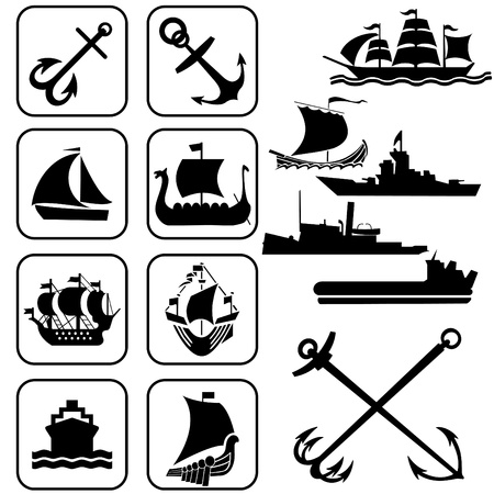frigate: set of vector icons. One ships