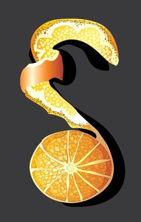 orange cut: c�scara de naranja pelada con un fondo negro