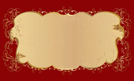 vector pattern with the golden curls on burgundy background Vector