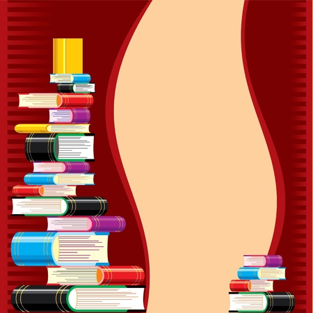 stack of books on a red background. pattern on the theme of reading and education Reklamní fotografie - 9613870