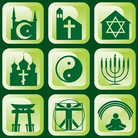 set van iconen van religieuze tekens en symbolen