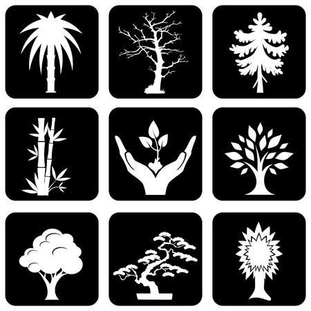 set of silhouette icons of trees and plants