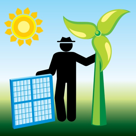 environmental conservation: symbolic image of renewable energy Illustration
