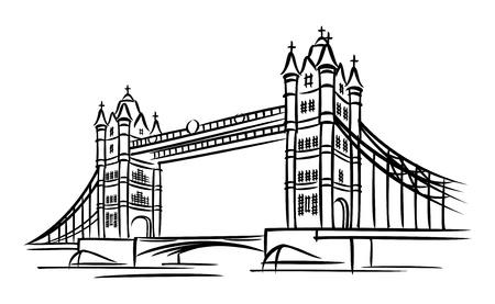 london: beelden van Tower Bridge in Londen Stock Illustratie