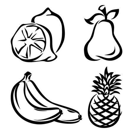 pineapples: conjunto de im�genes vectoriales de fruta