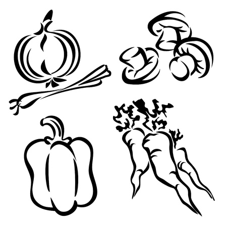 black pepper: set vector images of vegetables