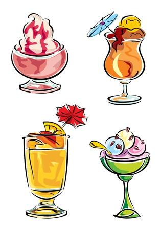 conjunto de imágenes vectoriales de bebidas frías y helado