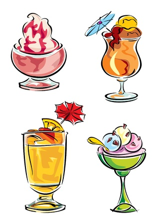sammer: set vector images of cold drinks and ice cream Illustration